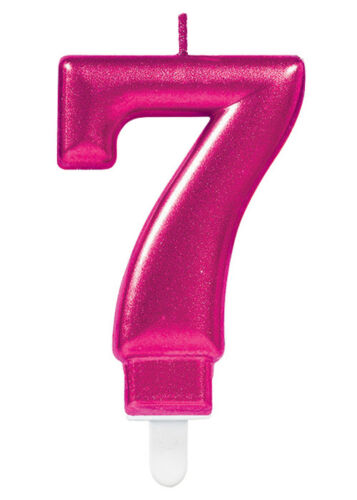 Pink Number 7 Birthday Cake Candle