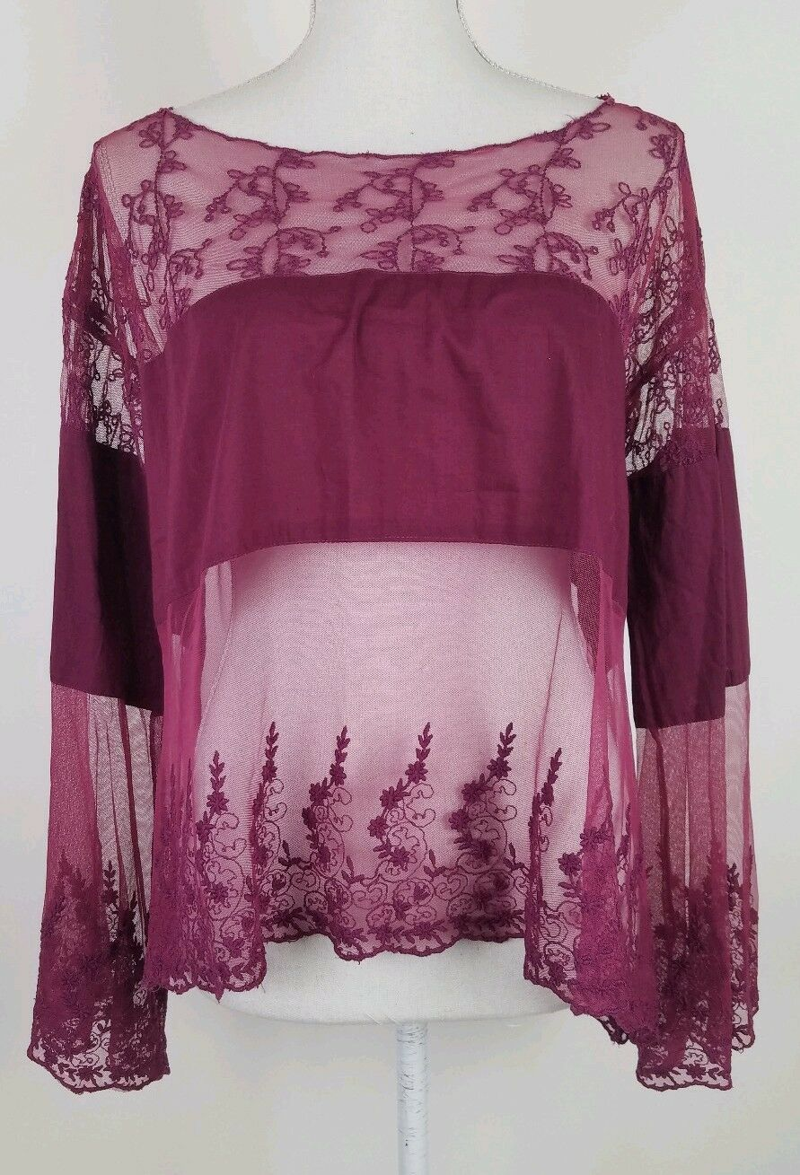 Free People Lace Maroon Mesh Bell Sleeve Top Womens Size Medium