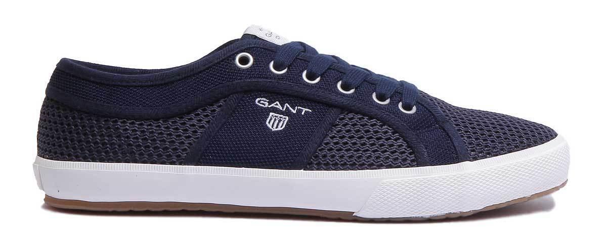 Gant Samuel Hommes Décontracté engrener Toile Faible Top paniers En Bleu Marine Taille UK 6 -12