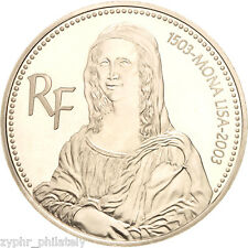 "France - ""ART ~ 500th ANNIVERSARY OF MONA LISA"" Silver Proof Coin 2003 !"