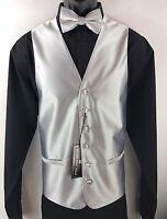 Men's 4 Piece Tuxedo Formal Vest Tie Bow Tie Hanky Silver Bruno Piattelli Roma