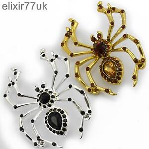 NEW-LARGE-SILVER-OR-GOLD-SPIDER-BROOCH-DIAMANTE-CRYSTAL-HALLOWEEN-PIN-BROACH-UK