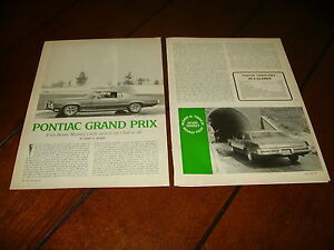 1969 PONTIAC GRAND PRIX ***ORIGINAL ARTICLE / SPECIFICATIONS***