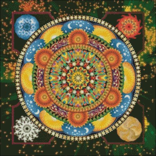 Color Symbols Charts DIY Modern Mandalas 3 Counted Cross Stitch Patterns
