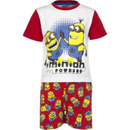Pyjama Set Kurz Schlafanzug Mädchen Jungen Minions rot blau 98 104 116 128 #55