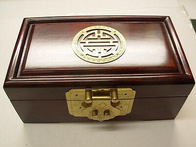 Asian Antiques Intelligent Pequeño Antigüedad Oscuro Palisandro Huali Caja Con Incrustaciones De Latón