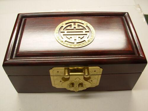 Small Antique Dark Rosewood Huali Jewllery Box with brass inlay