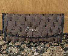 STYLISH HARRODS ENVELOPE STYLE BROWN PURSE / USED / GOOD CONDITION