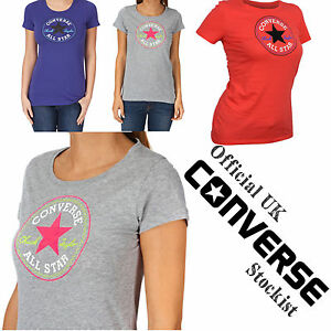 Ladies Converse T Shirt Pink Navy Grey Chuck Taylor Star Cotton ... 0457b72790f2