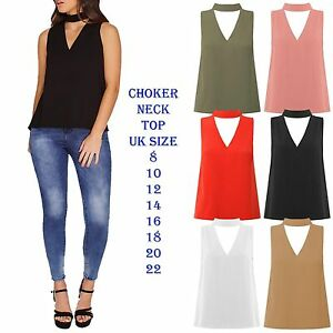 New-Womens-Choker-V-Neck-Long-Tops-T-shirt-Ladies-Casual-Party-Collar-Blouse-Top