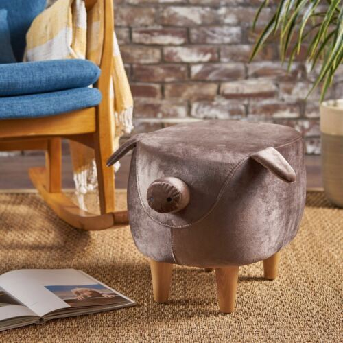 Benji Modern Velvet Pig Ottoman Stool with Birch Wood Legs