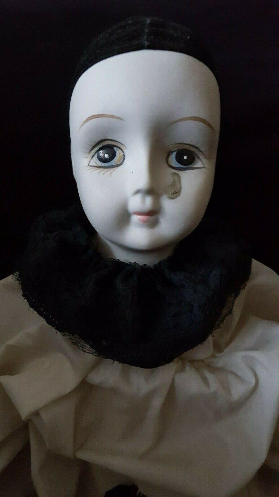 55 cm Schöne Porzellan Clown Puppe in Schwarz Weiß Kleidung