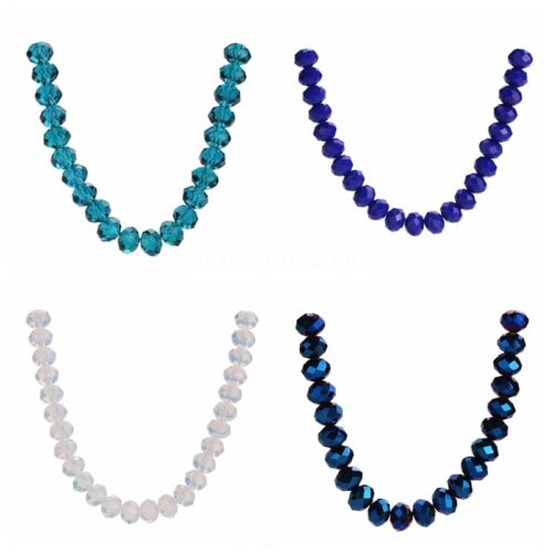 Mixed 8mm Glass 200pcs Loose Crystal Beads Rondelle Spacer Faceted Necklace