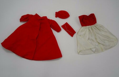 Vintage Barbie Red Flare #939 Coat Hat Dress Purse