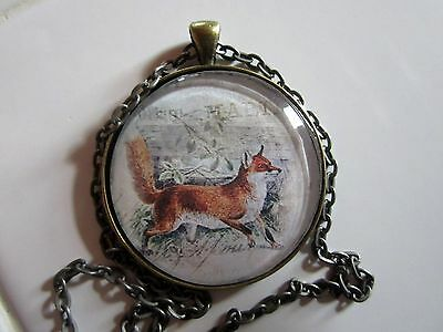 Red fox on the run round glass pendant necklace jewelry w/chain wildlife animal