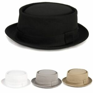 New Men s 100% Cotton Solid Fedora Classic Porkpie Stingy brim Round ... 641992d3949