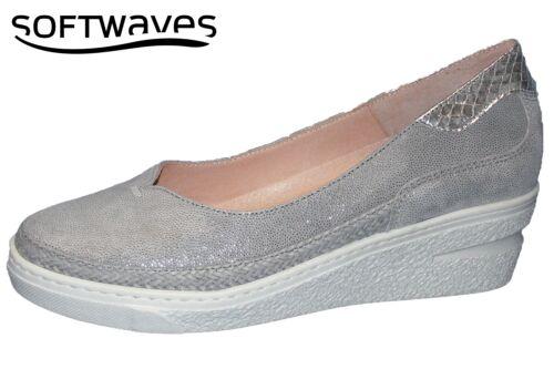 Softwaves Sommer Damen Keil Pumps Grau Silber Echt Leder Schuhe Weich NEU 67722
