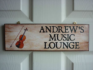 HANDMADE-MUSIC-ROOM-SIGN-VIOLIN-VIOLA-DOUBLE-BASS-CELLO-OWN-WORDING-MUSIC-PLAQUE