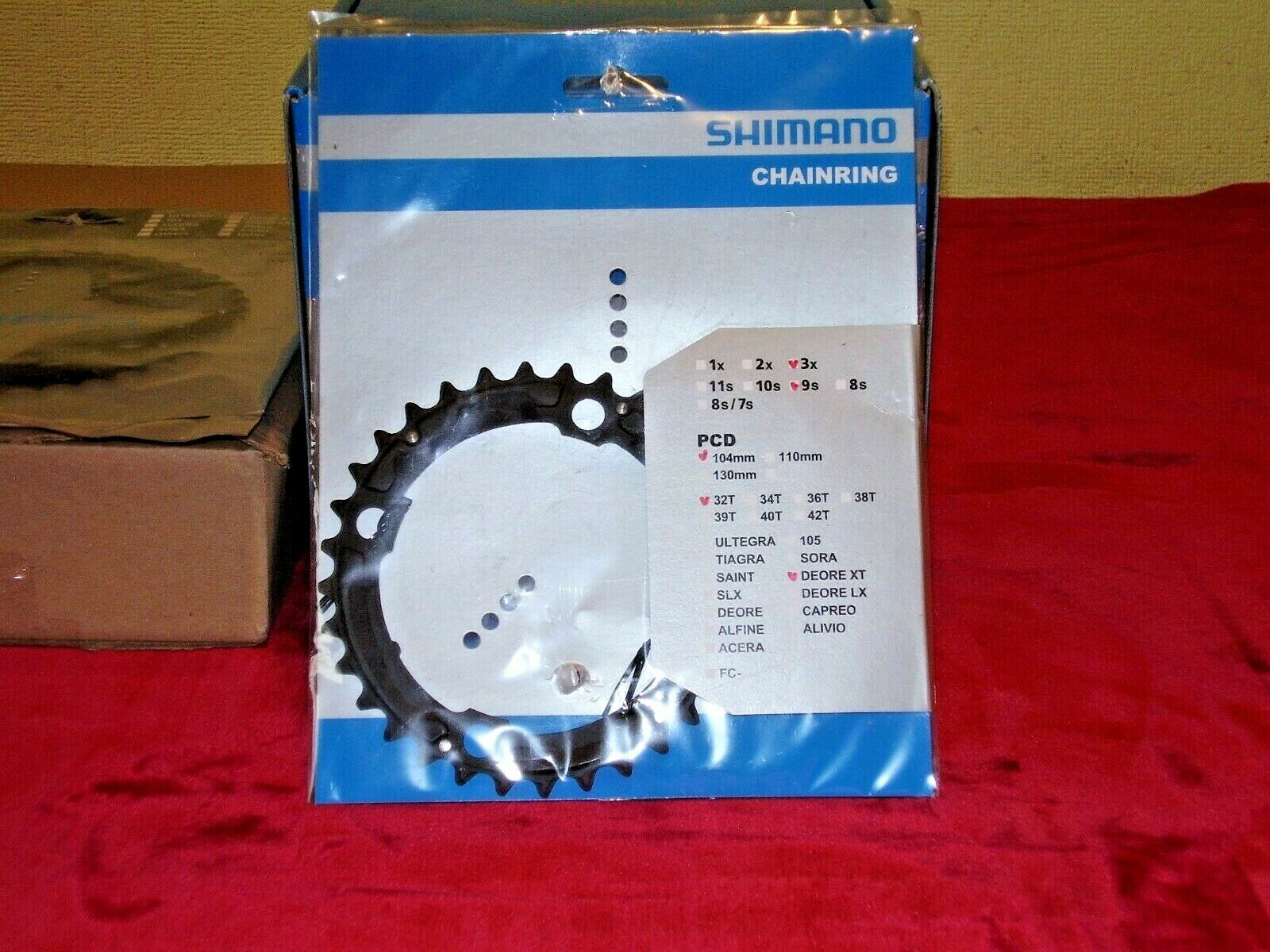 SHIMANO DEORE XT CHAINRINGS.            32T AND 22T.