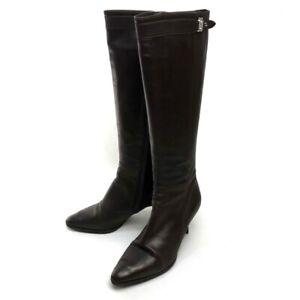 hermes low heel kneehigh boots brown leather  ebay
