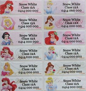 2bd41bf63b8d Details about 60 Disney Princess with Cinderella Personalised Name Stickers  Tag / Label Vinyl