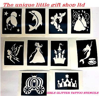 10 x girls  stencils top up your glitter tattoo kit princess tinkabel mermaid