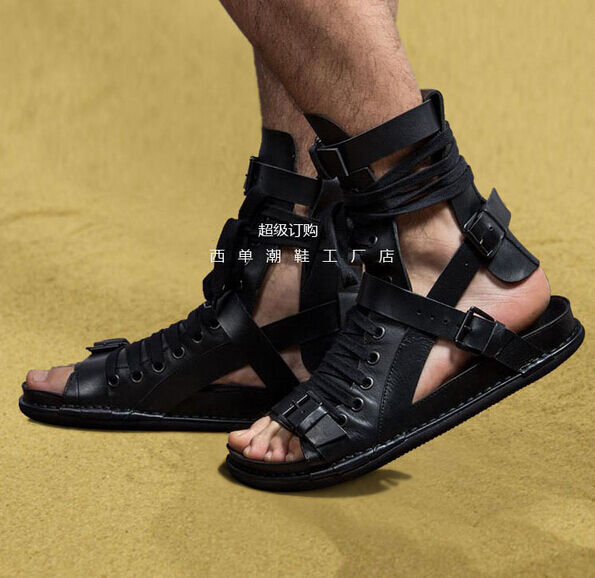 New Uomo Real Leather Gladiator High Top Sandal Open Toe Punk Zips Shoes Boots