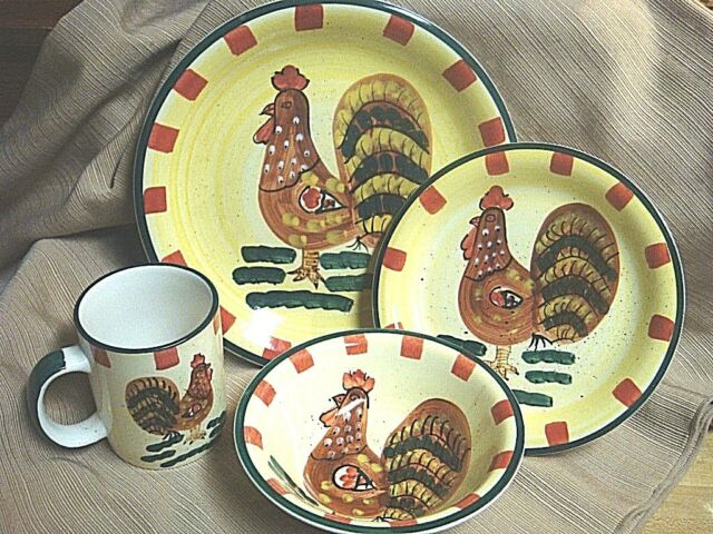 Style-Eyes RED CHECK ROOSTER Dinnerware by Baum Bros - 4 Pc Place Setting & dinnerware collection on eBay!