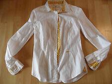 0039 ITALY schöne Bluse weiß m. bunter Knopfleiste Gr. M TOP BI216