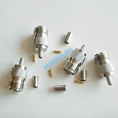1Pcs UHF female SO-239 jack crimp RG58 RG142 LMR195 RG400 cable RF Connector