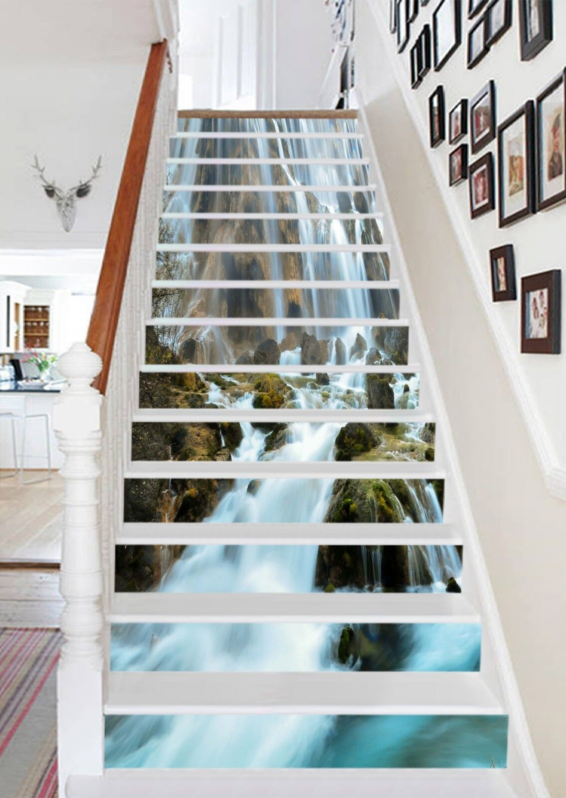 3D Waterfall 7 Stair Risers Decoration Photo Mural Vinyl Decal Wallpaper US