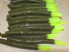 "4"" Stick Senko Style Green Pumpkin Chartreuse Tail 100 count bag plastic Worm"