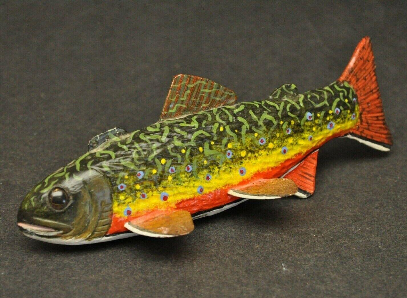 Marge Jim Mechas 2000 Curtis mi mano tallada peces arpón Señuelo Firmado Arte Popular