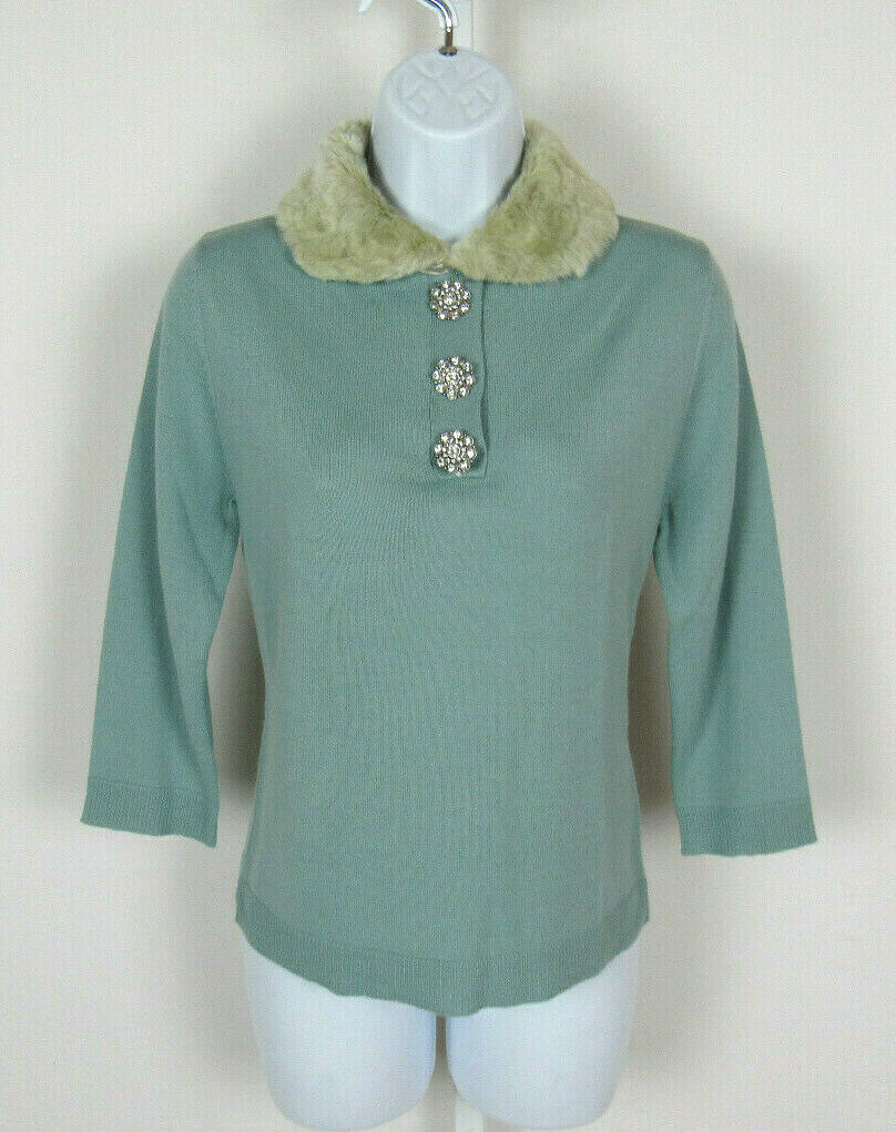 VTG 1990s MICHELLE NICOLE SIZE MED WOOL ACRYLIC SWEATER TOP CRYSTALS FAUX FUR