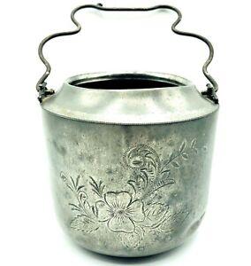 """New Amsterdam Co Antique Flora Etch 5"""" Cauldron Quadruple Silver Plate 1308 Pot"""