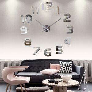 Design Wand Uhr Wohnzimmer wanduhr Spiegel Edelstahl wandtattoo Deko ...