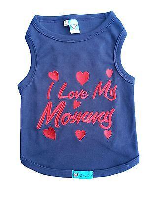 XL M XXL XS S L Pet Dog Cat Clothes T-Shirts  *I love my Mommy *  Blue XXS