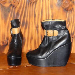 Platform-Ankle-Boots-Black-Leather-Wedge-Heel-Boots-EU-40-Minimarket-Boots