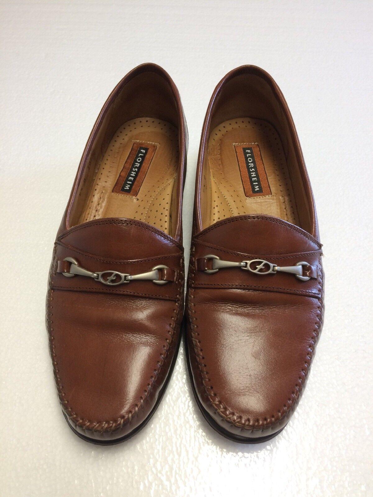 Florsheim uomo's  Cognac Brown Leather Dress Shoes Slip On Bit Loafers Size 9.5D Scarpe classiche da uomo