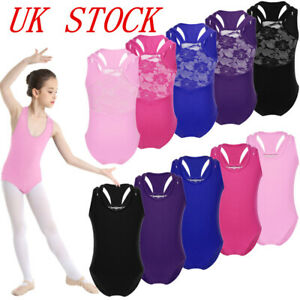 Girls Kids Ballet Dance Leotards Lace Gymnastics Performing Glittery Bodysuit