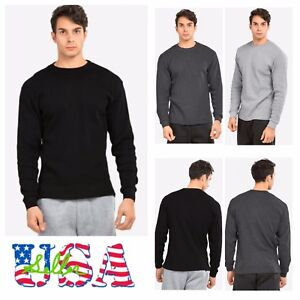 Men-Long-Sleeve-Thermal-Shirts-Casual-Crew-Neck-Waffle-Winter-Cotton-Underwear
