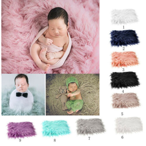 Baby Photo Props Backdrop Newborn Photography Soft Fur Quilt Mat Blanket Rug