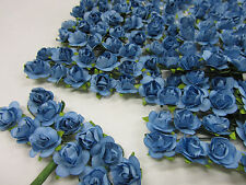 144 Mulberry Paper Craft Rose Flower Bouquet/wedding/parchment/Wire H420-Blue