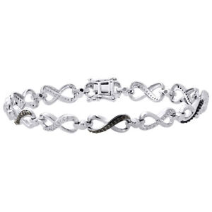 925-Sterling-Silver-Black-Diamond-Infinity-Tennis-Link-Bracelet-7-5-034-0-33-Ct