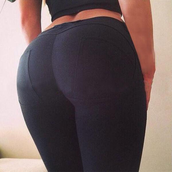 Damen Stretch Hose Jeans-Look Slim Skinny Push up Leggings Leggins Jeggings BK