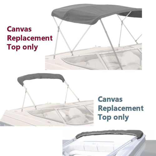 "90/""W BIMINI TOP BOAT COVER CANVAS FABRIC GREY W//BOOT FITS 3 BOW 72/""L 46/""H 85/"""