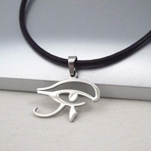 Argent égyptien Cléopâtre Eye of Horus Ra Pendentif en Cuir Marron Foncé Collier