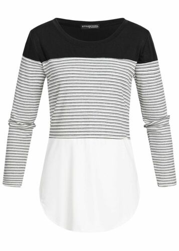 29/% OFF B19026035 Damen Violet Shirt Longsleeve Colorblock gestreift schwarz