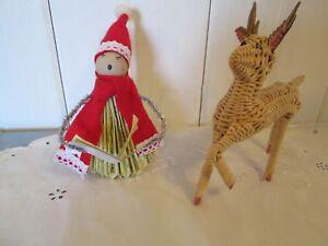 2-Vintage-Christmas-Ornaments-Wicker-Deer-Sheet-Music-Singer-Wood-Tinsel-Felt