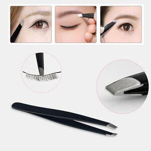 Professional-Black-Eyebrow-Tweezers-Hair-Beauty-Slanted-Stainless-Steel-Tweezer